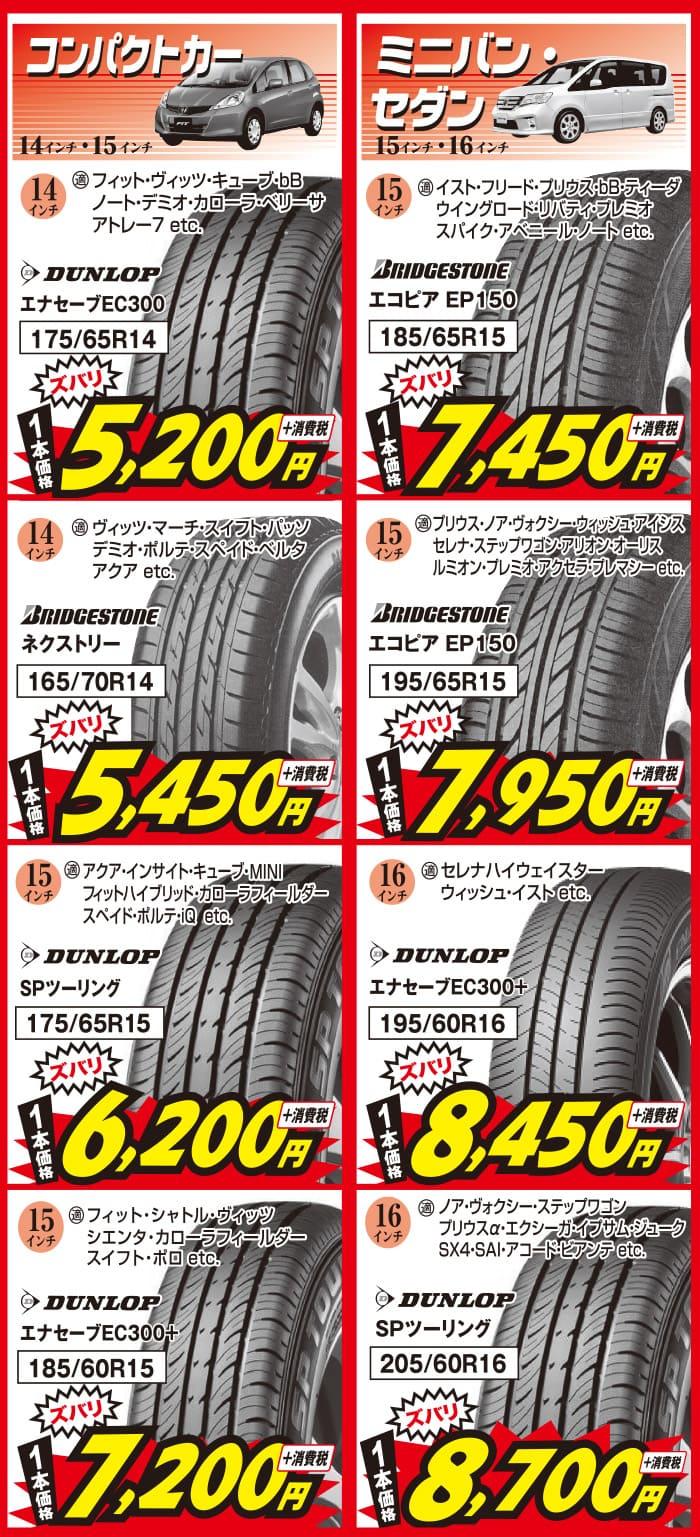 5月_兵庫ビーライン、コンパクトカー・ミニバン・セダン用の安いタイヤ
