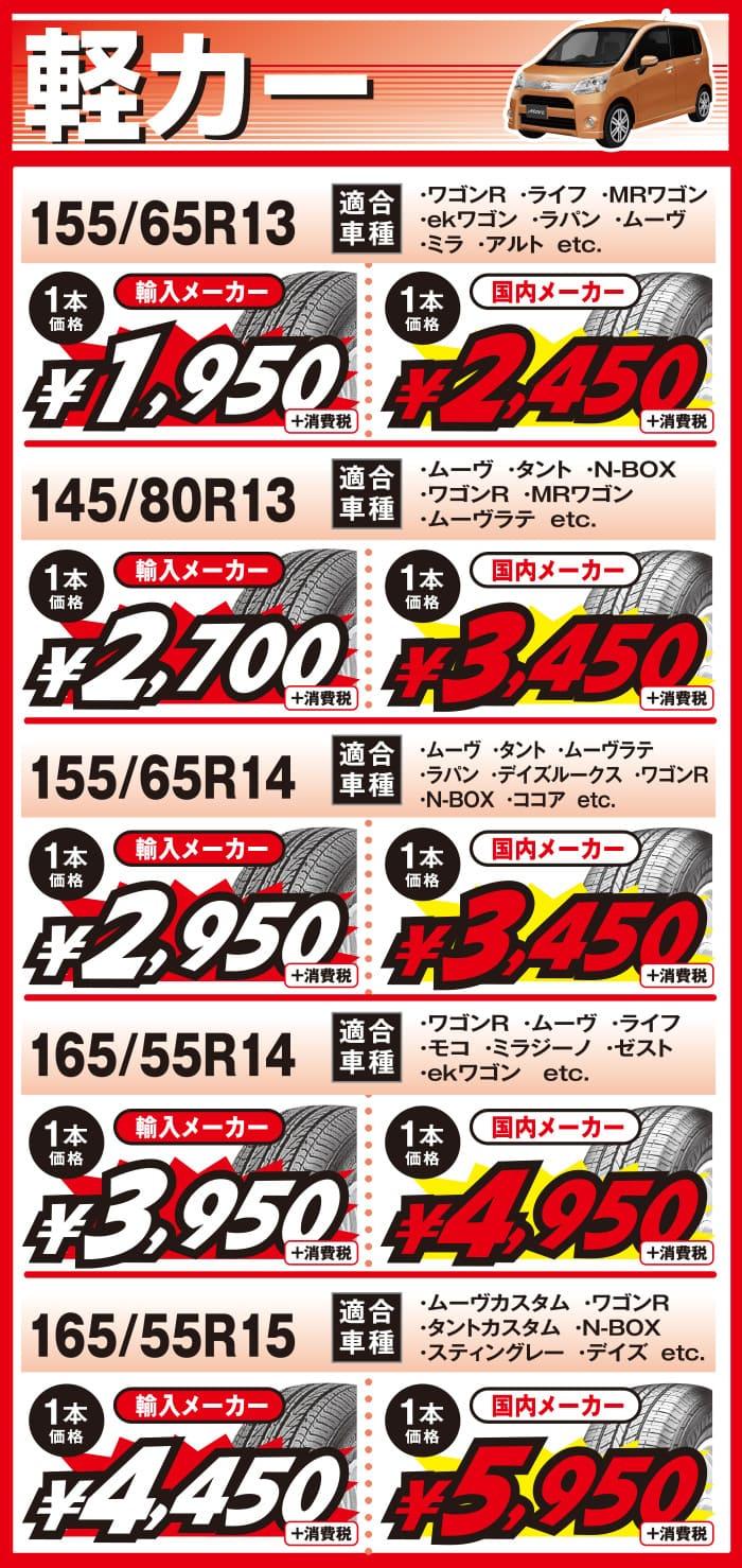 5月_兵庫ビーライン、軽カー用の当店最安値タイヤ