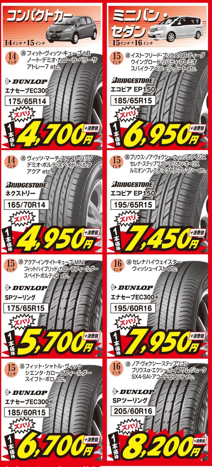 2019年7月_コンパクトカー・ミニバン・セダン用の安いタイヤ