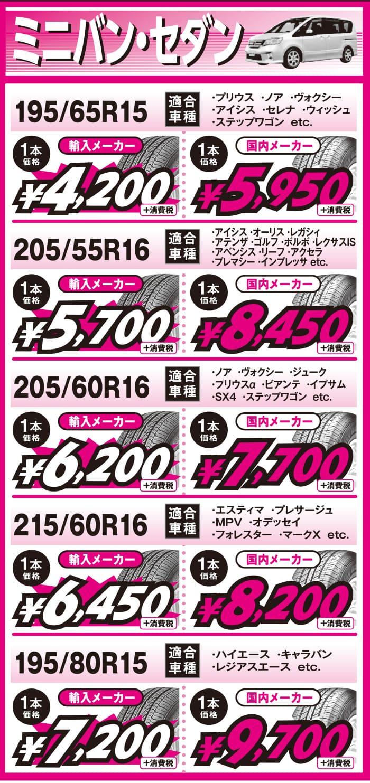 大分ビーライン2019年7月_コンパクトカー用の当店最安値タイヤ