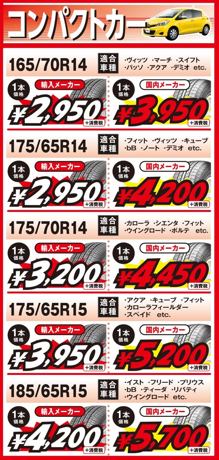 ビーライン福岡2019年10月_コンパクトカー用の当店最安値タイヤ